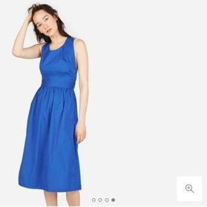 Everlane The Clean Cotton Cross-Back Dress Blue